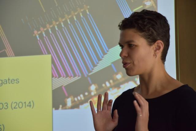 Marissa Giustina presenting in the Herbert Walther hall at MPQ.