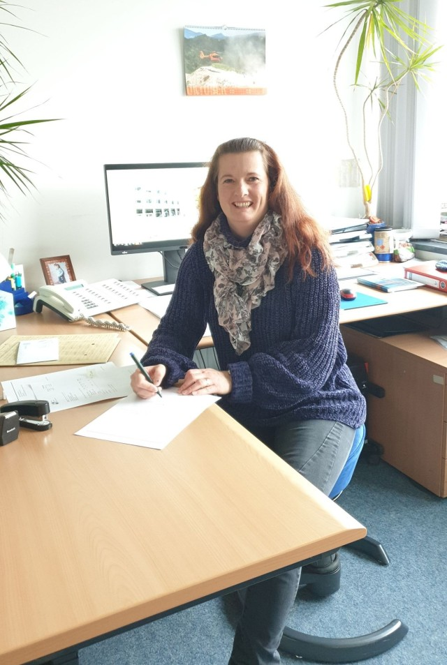 Silvia Schulz in her office at the Maths Department at TUM.