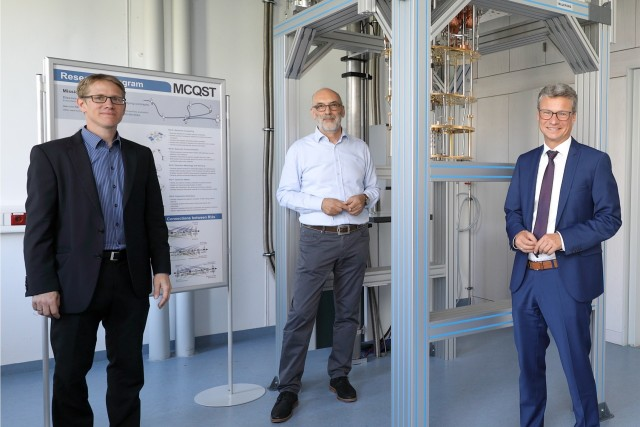 From left to right: Stefan Filipp, Rudolf Gross and Bernd Sibler in front of the new low temperature machines funded by MCQST.